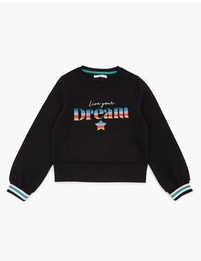 Kız Çocuk Siyah Pamuklu Sloganlı Sweatshirt
