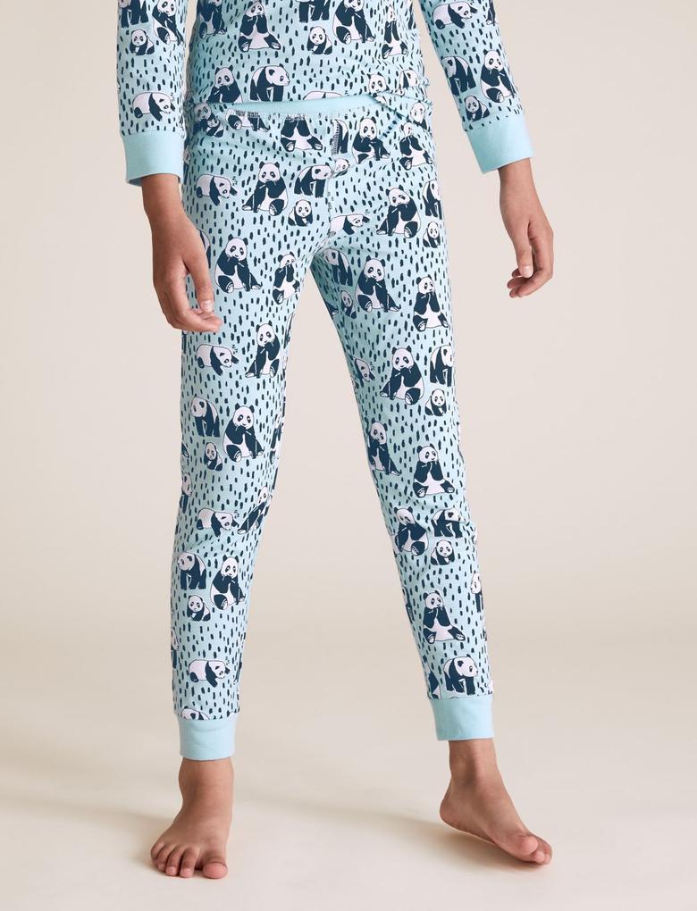 Çocuk Mavi Pamuklu Panda Desenli Pijama Takımı