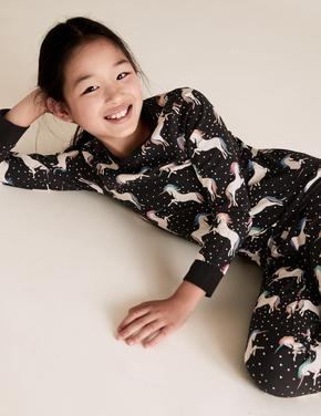 Çocuk Siyah Pamuklu Unicorn Desenli Pijama Takımı