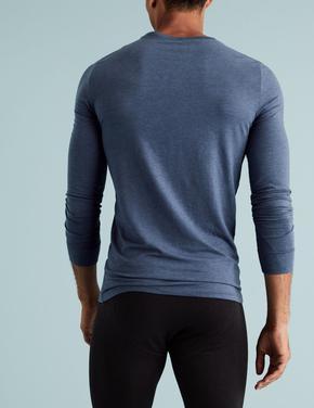 Erkek Mavi 2'li  Uzun Kollu Termal Atlet Seti