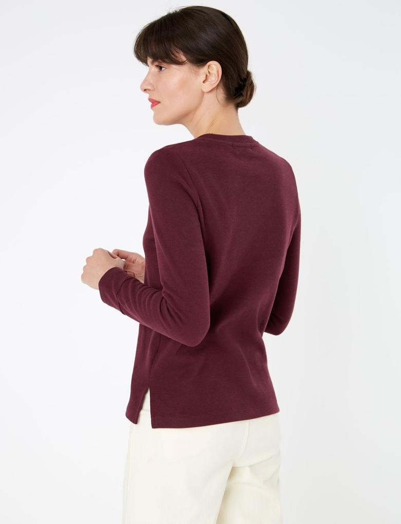 Kadın Bordo Pamuklu Straight Fit Sweatshirt