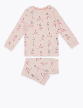 Çocuk Pembe Pamuklu Balerin Desenli Pijama Takımı