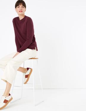 Kadın Mor Pamuklu Straight Fit Sweatshirt
