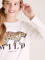 Kız Çocuk Bej Saf Pamuklu Desenli T-Shirt