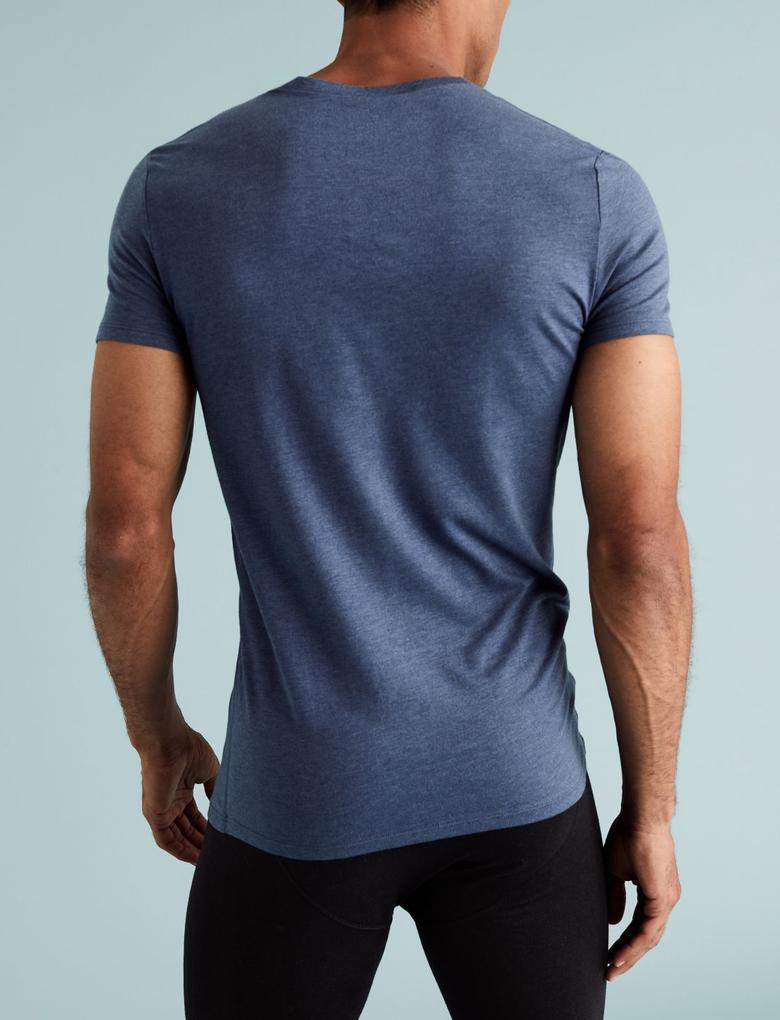 Erkek Mavi 2'li Kısa Kollu Termal Atlet