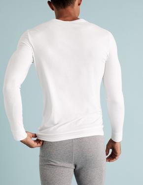 Erkek Beyaz 2'li  Uzun Kollu Termal Atlet Seti