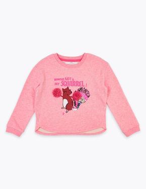 Kız Çocuk Pembe Pamuklu Sincap Desenli Sweatshirt