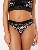 Kadın Siyah Zebra Desenli Dantelli Brazillian Külot