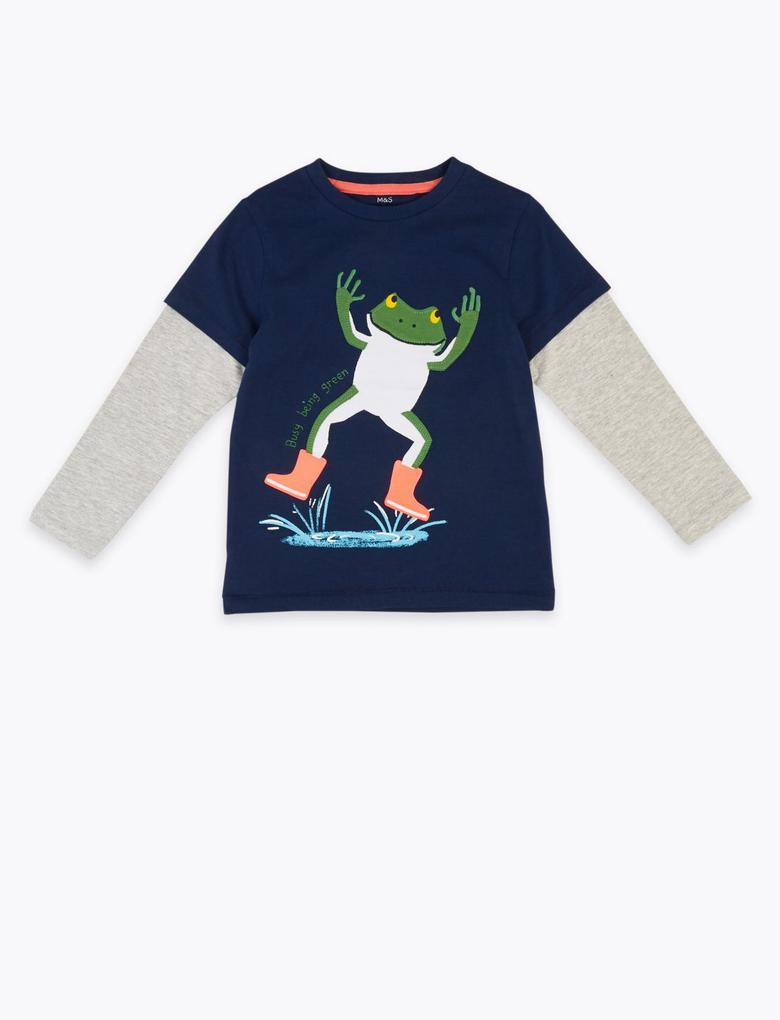 Erkek Çocuk Lacivert Kurbağa Desenli Uzun Kollu T-Shirt