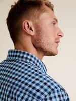 Erkek Mavi Uzun Kollu Ekose Gömlek