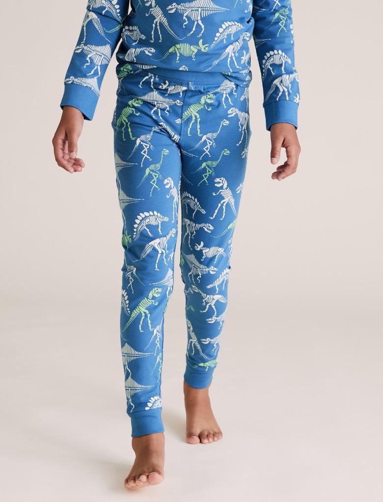 Çocuk Mavi Dinozor Desenli Pijama Takımı
