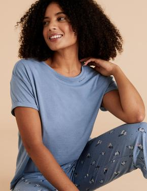 Kadın Mavi Baykuş Desenli Pijama Takımı
