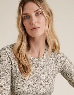 Kadın Yeşil Çiçek Desenli Uzun Kollu T-Shirt