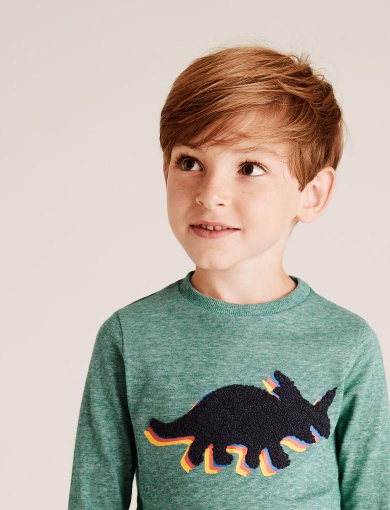 Erkek Çocuk Mavi Dinozor Desenli Uzun Kollu T-Shirt