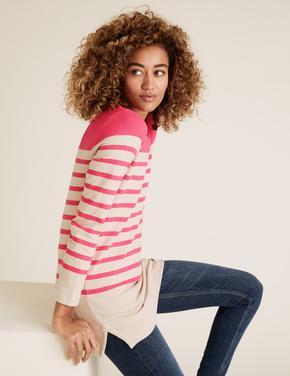 Kadın Pembe Çizgili Straight Fit Tunik