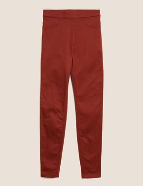 Kadın Turuncu Yüksek Belli Jegging Pantolon