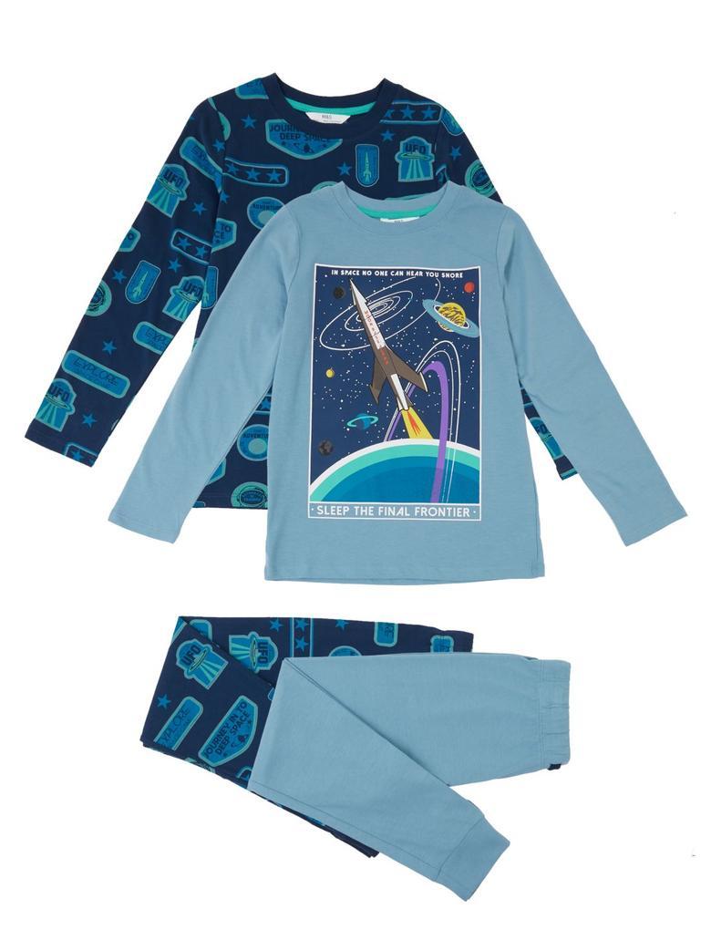 Çocuk Lacivert 2'li Uzay Temalı Pijama Seti