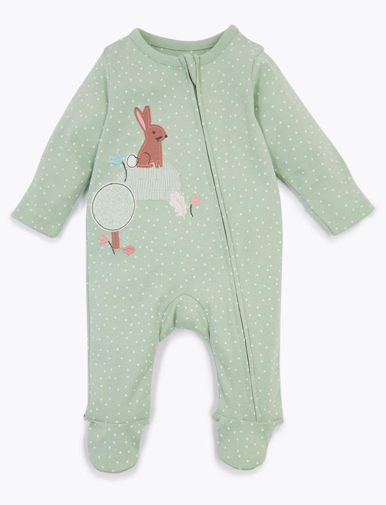 Bebek Yeşil 2'li Tavşan Desenli Tulum Seti