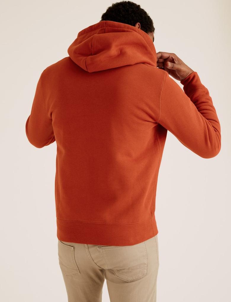 Turuncu Saf Pamuklu Kapüşonlu Sweatshirt