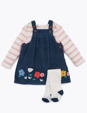 Bebek Lacivert Çiçek Desenli Salopet Body ve Çorap Takımı