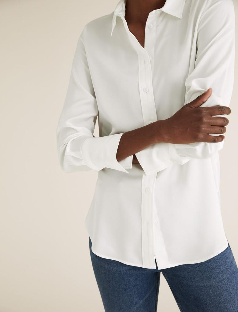 Kadın Beyaz Uzun Kollu Saten Gömlek