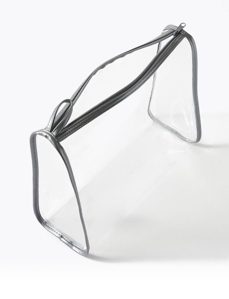 Kozmetik Gümüş 3'lü Şeffaf Makyaj Çantası Seti