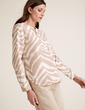 Kadın Multi Renk Uzun Kollu Zebra Desenli Bluz