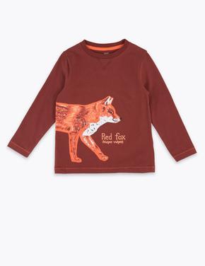 Erkek Çocuk Kahverengi Tilki Desenli Uzun Kollu T-Shirt