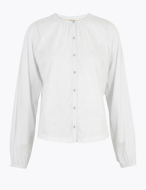 Beyaz Uzun Kollu Jarse Bluz