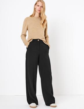 Kadın Siyah Wide Leg Pantolon