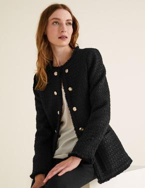 Kadın Siyah Tüvit Blazer Ceket