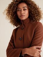 Kadın Kahverengi Dik Yakalı Kaban