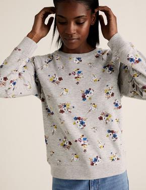 Kadın Gri Çiçek Desenli Yuvarlak Yaka Sweatshirt