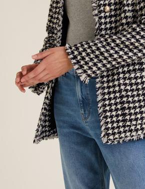 Kadın Siyah Kaz Ayağı Desenli Tüvit Ceket
