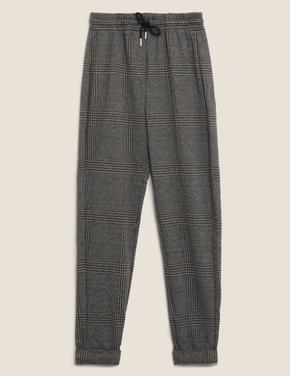 Kadın Gri Ekose Tapered Leg Pantolon