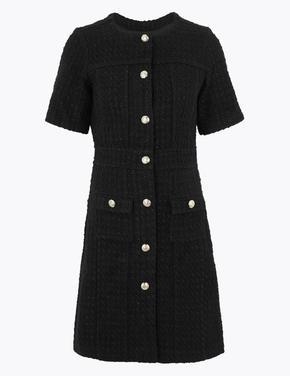 Kadın Siyah Tüvit Waisted Mini Elbise