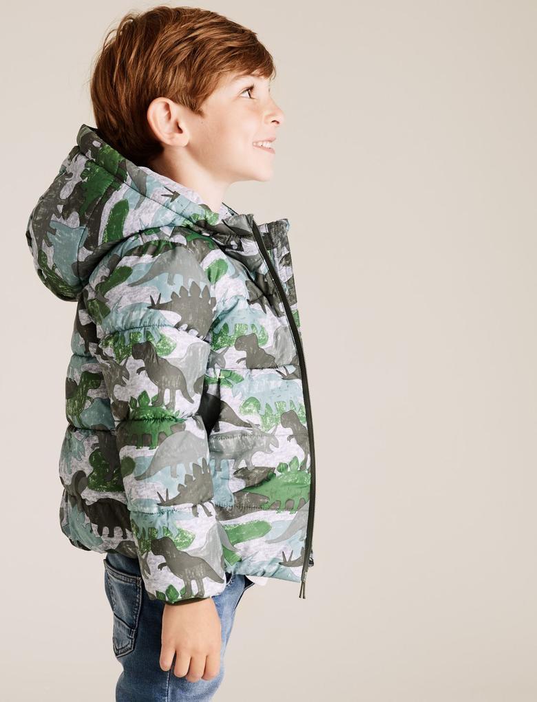 Erkek Çocuk Multi Renk Kapüşonlu Dinozor Desenli Mont (Stormwear™ Teknolojisi ile)
