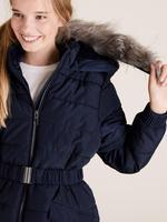 Kız Çocuk Lacivert Kapüşonlu Uzun Mont (Stormwear™ Teknolojisi ile)