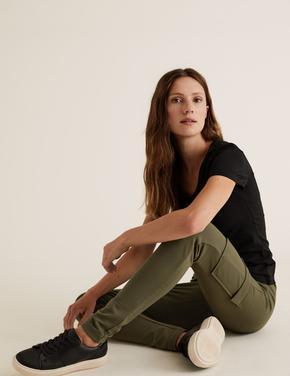 Kadın Yeşil Jarse Slim Fit Kargo Pantolon