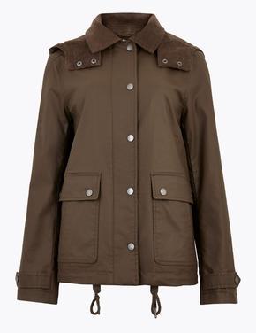 Kahverengi Çıkartılabilir Kapüşonlu Ceket