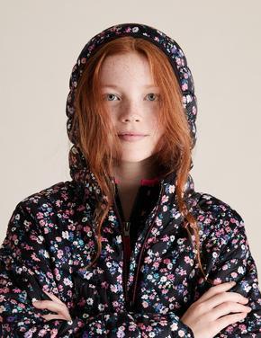 Kız Çocuk Siyah Kapüşonlu Desenli Mont (Stormwear™ Teknolojisi ile)