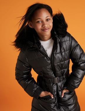 Kız Çocuk Siyah Kapüşonlu Uzun Mont (Stormwear™ Teknolojisi ile)