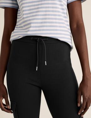 Kadın Siyah Jarse Slim Fit Kargo Pantolon