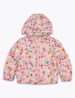 Kız Çocuk Pembe Kapüşonlu Çiçek Desenli Mont (Stormwear™ Teknolojisi ile)