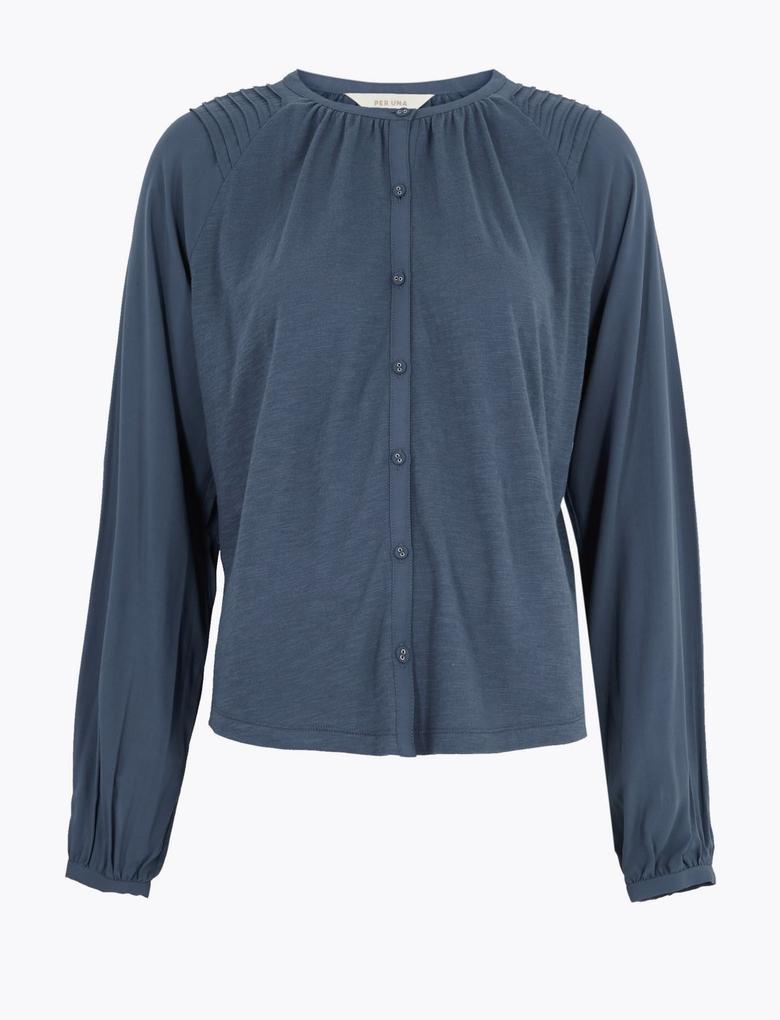 Lacivert Uzun Kollu Jarse Bluz