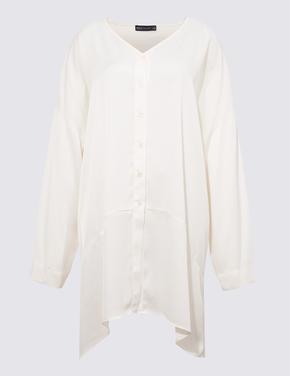 Kadın Beyaz Saten Tunik Bluz