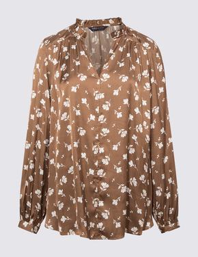 Kadın Kahverengi Çiçek Desenli Popover Bluz