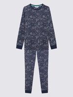 Çocuk Koyu lacivert Desenli Pijama Takımı Seti