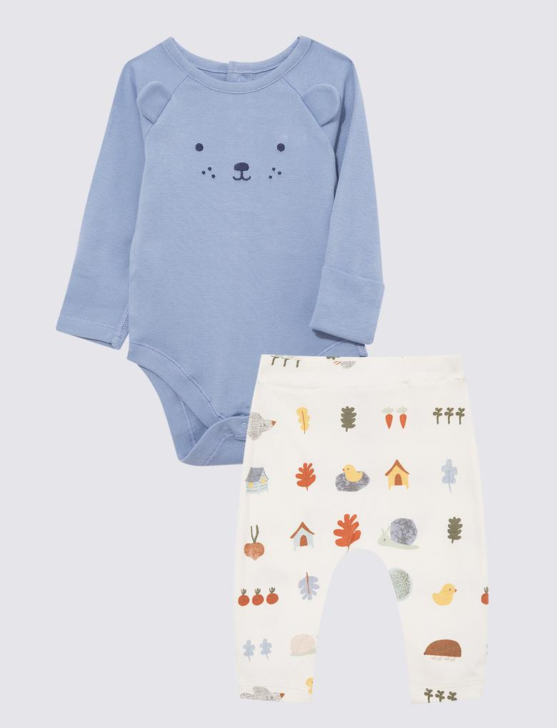 Bebek Beyaz Body ve Eşofman Altı Takımı