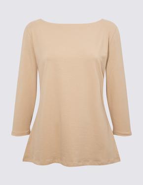 Kadın Kahverengi Pamuklu 3/4 Kollu T-Shirt